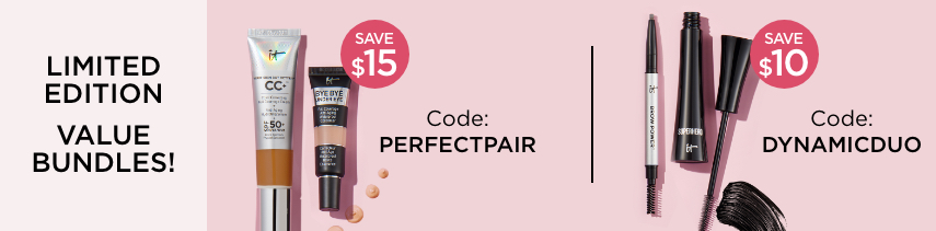 Limited Edition Value Bundles | Save $15 when you buy CC Cream and Bye Bye Undereye Code PERFECTPAIR | Save $10 when you buy Superhero Mascara and Brow Power with code DYNAMICDUO